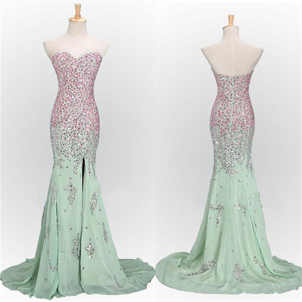 Long Mermaid Sweet Heart Side Split Sparkle Mint Prom Dresses, BG51148 - Bubble Gown