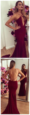 Backless Mermaid Burgundy Evening Sexy Long Prom Dresses, BG51192
