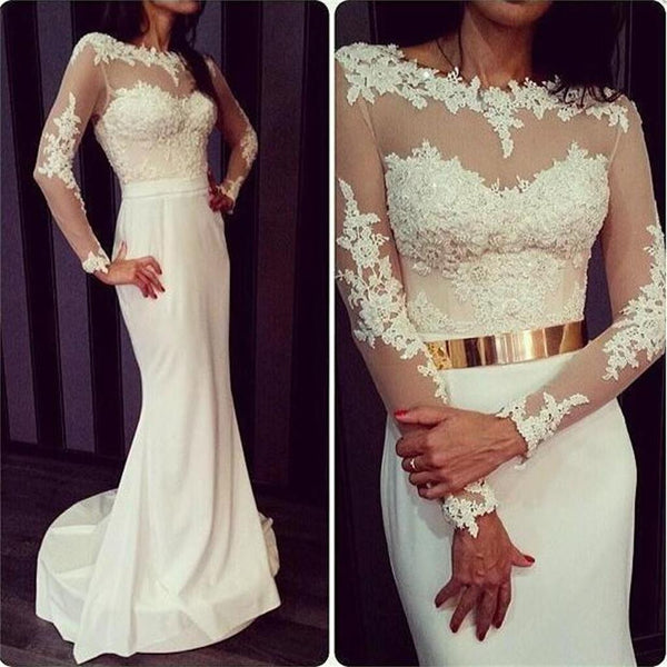White Long Sleeves Sexy Lace Open Back Prom Dresses, BG51156