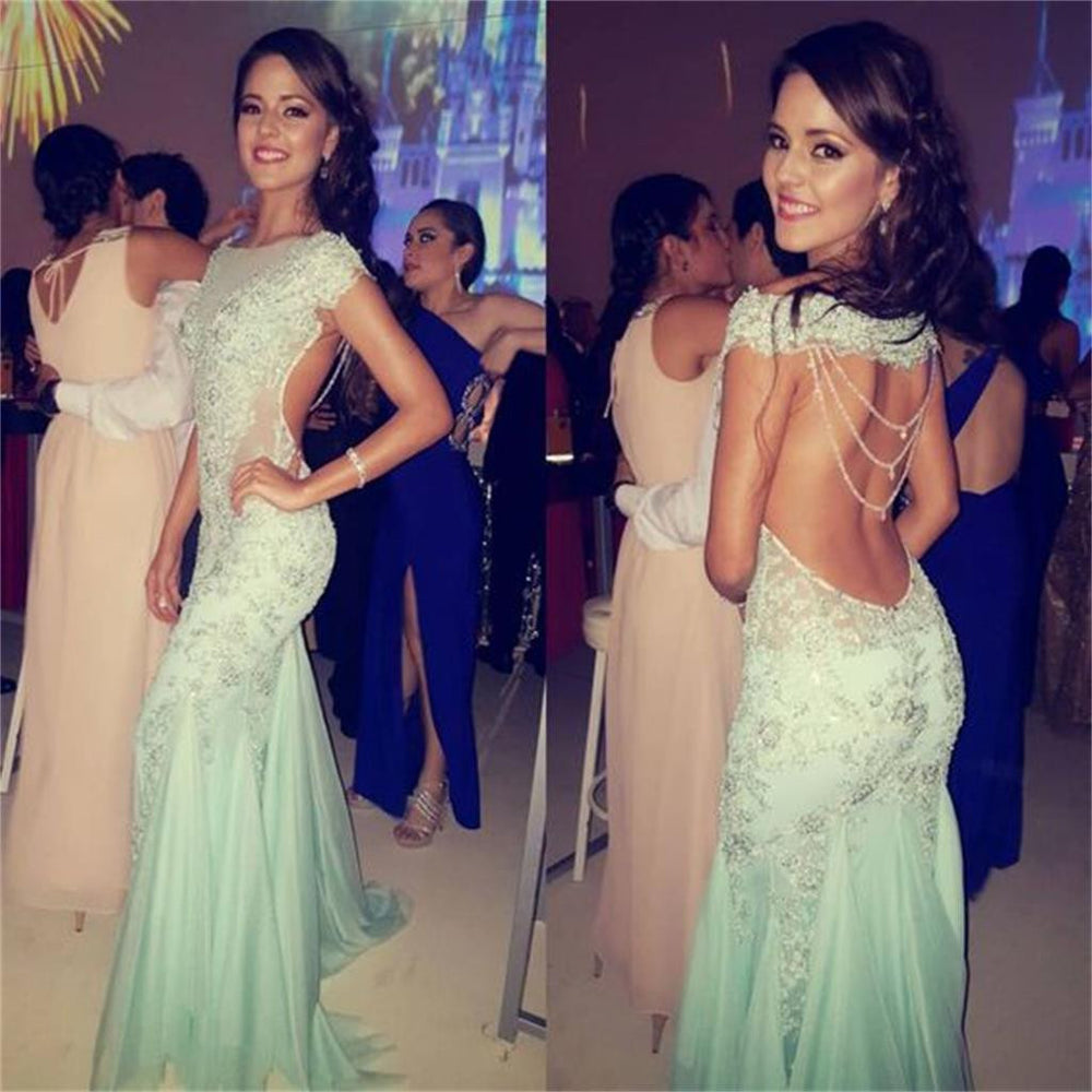 Sexy Mermaid Heavy Beaded Evening Long Prom Dresses, BG51008