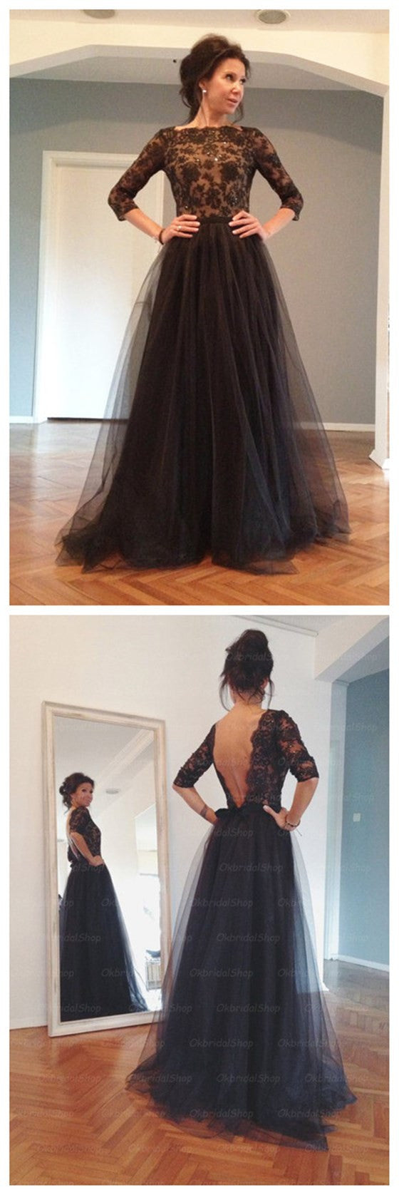 Elegant Black Long Sleeves Deep V Back Long Prom Dresses, BG51088