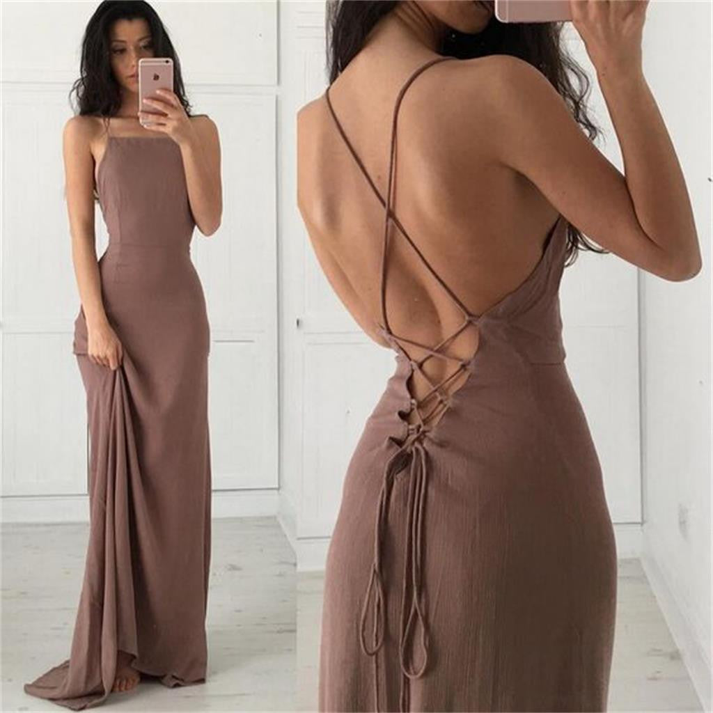 Spaghetti Straps Sexy Simple Backless Evening Long Prom Dress, BG51155