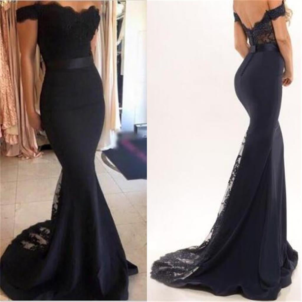 Black Off Shoulder Mermaid Long Bridesmaid Prom Dresses, BG51170 - Bubble Gown
