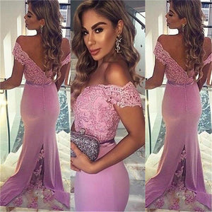 Off shoulder V-BackMermaid Evening Party Long  Lace Prom Dress, BG51143