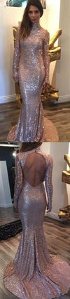 Long Sleeves Sequin High Neck Backless Mermaid Long Prom Dress, BG51117