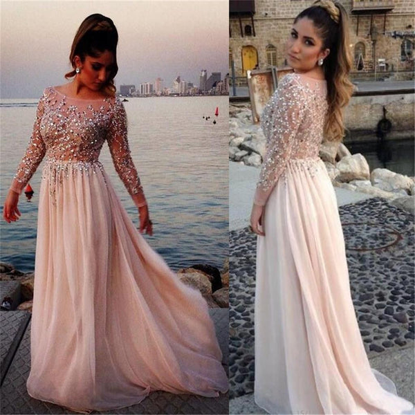 Long Sleeves See-through Cheap Evening Party Long Prom Dresses, BG51118 - Bubble Gown