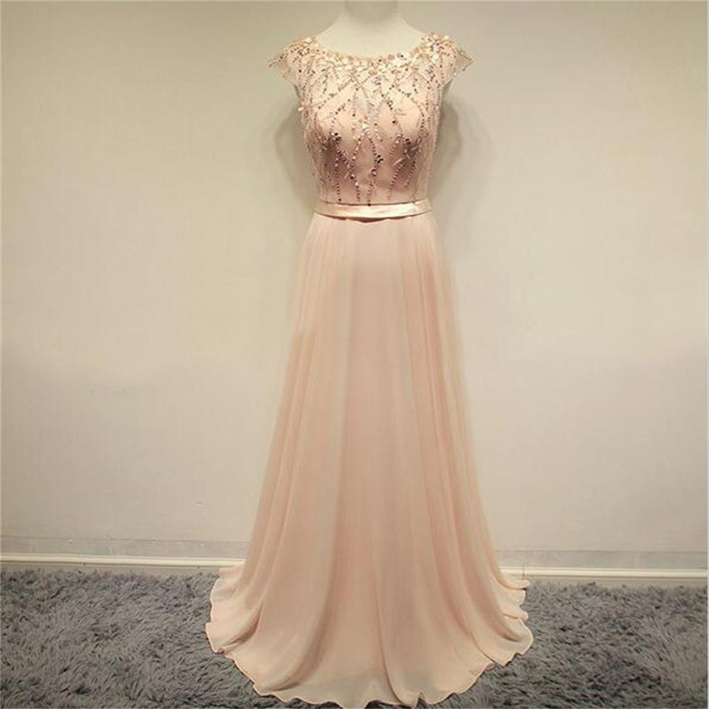 Charming Blush Pink Cap Sleeves Cheap Evening Long Prom Dress, BG51014