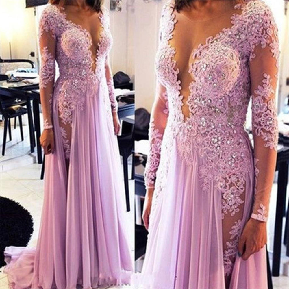 Long Sleeves See Through Deep V Neck Split Long Lace Prom Dresses, BG51116