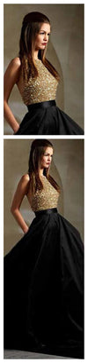 Black Gold Halter Sparkle Long Evening Party Prom Dresses, BG51126
