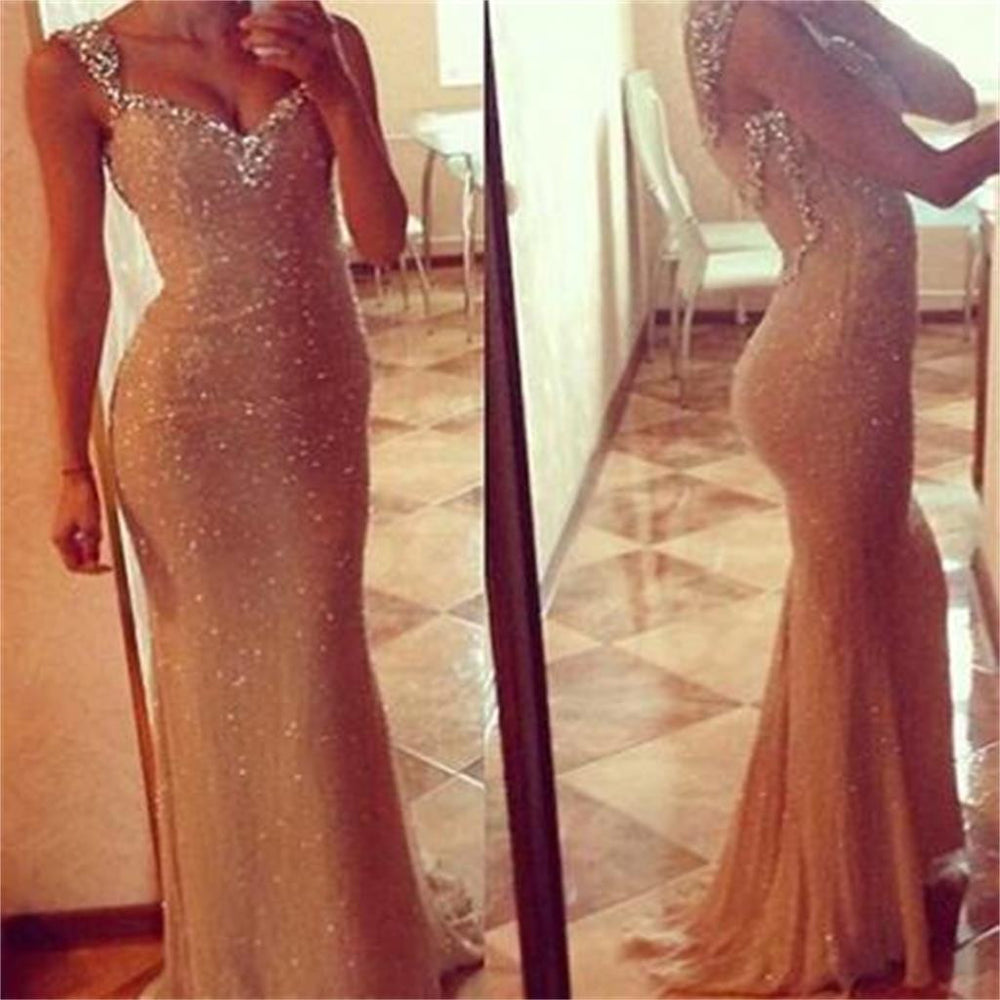 Affordable Long Gold Sequin Mermaid Shinning Prom Dresses, BG51130