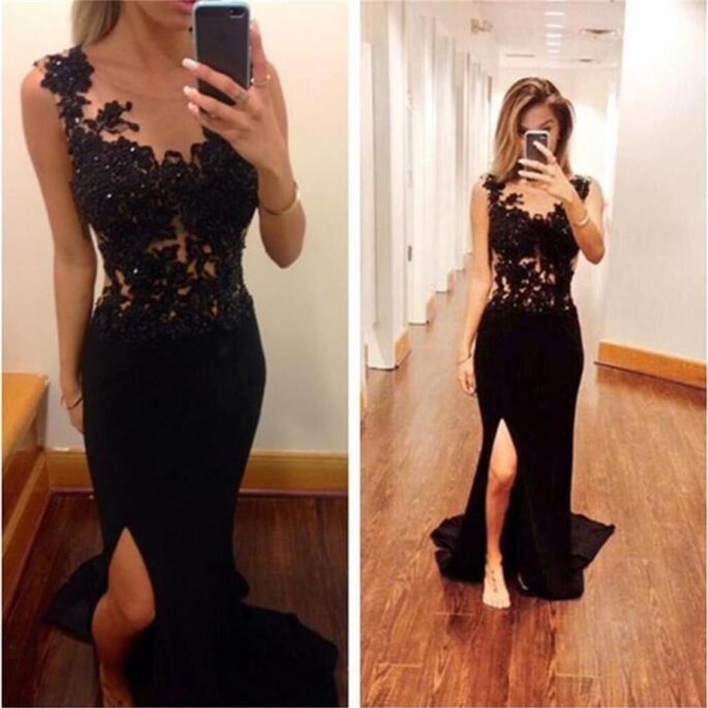 Black Mermaid Side Split Long Sexy Backless Lace Prom Dresses, BG51161