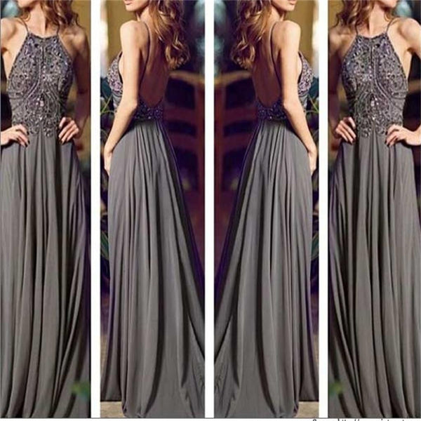 Long Gray Cheap Open Back Sexy Women Evening Prom Dresses, BG51131 - Bubble Gown