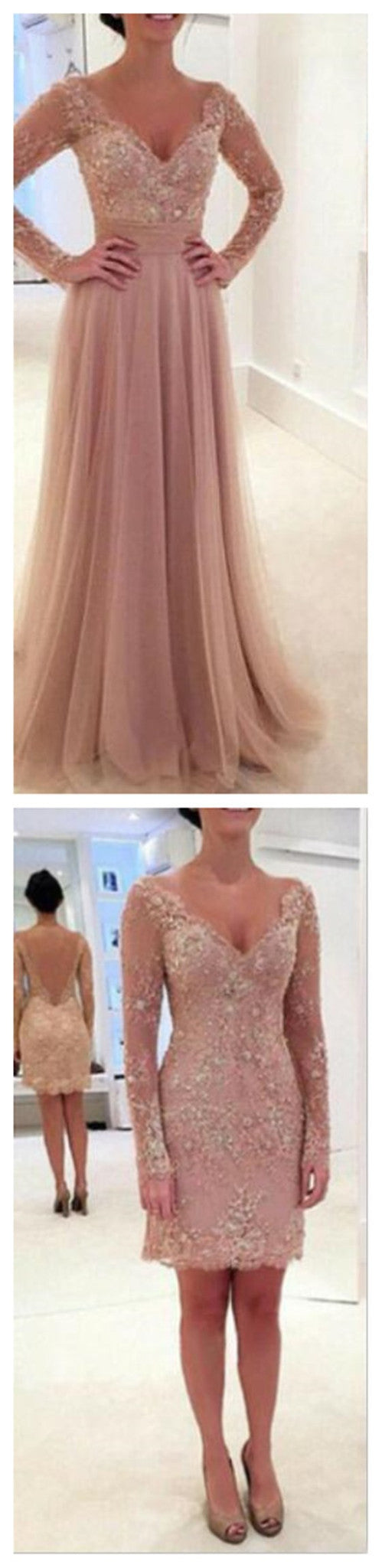 2 Pieces Long Sleeves Blush Pink Sexy Long Lace Prom Dresses, BG51137 - Bubble Gown