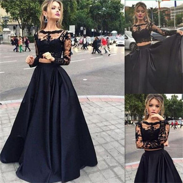 2 Pieces Long Sleeves Lace Evening Party Long Prom Dresses, BG51136 - Bubble Gown