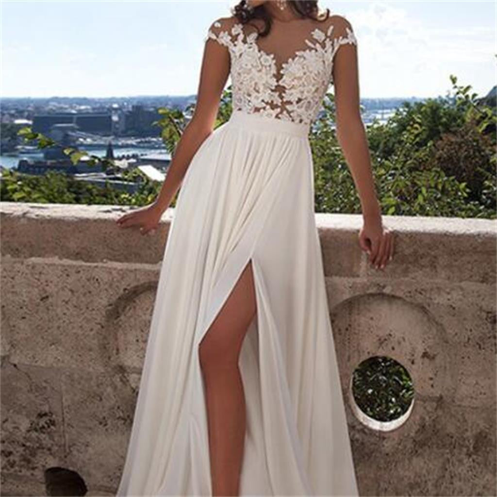 Cap Sleeve White Side Slit Lace Chiffon Long Cheap Prom Dresses, BG51128