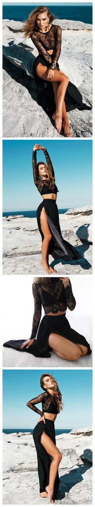 2 Pieces Black Lace Long Sleeves Sexy Slit Cheap Long Prom Dresses, BG51021 - Bubble Gown