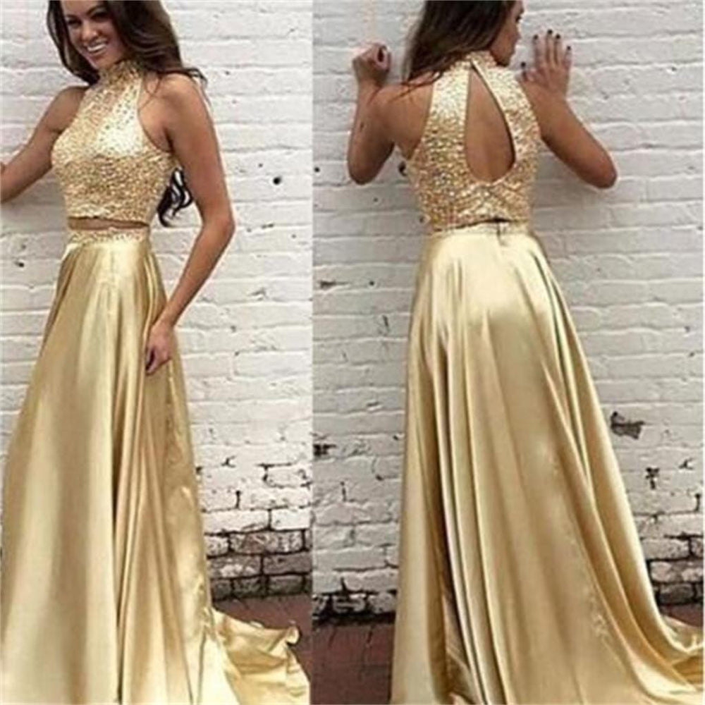 2 Pieces High Neck Open Back Shinning Gold Evening Long Prom Dress, BG51236