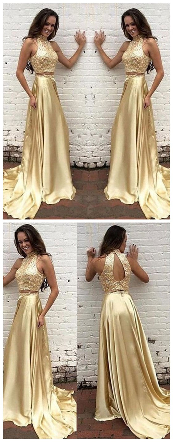 2 Pieces High Neck Open Back Shinning Gold Evening Long Prom Dress, BG51236 - Bubble Gown