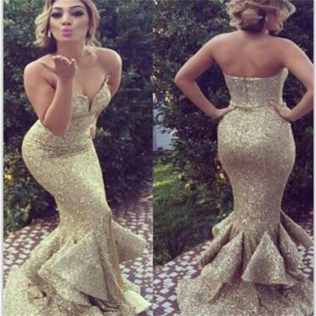 Gold Sequin Sweetheart Long Mermaid Evening Party Prom Dresses, BG51089