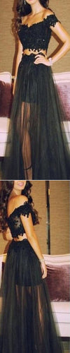 2 Pieces Black Lace Off Shoulder Long Evening Prom Dresses, BG51146