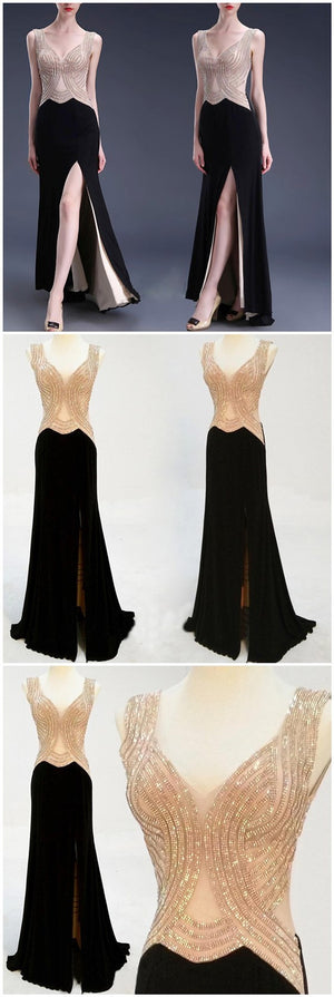Black Side Slit Beading Sexy Evening Party Long Prom Dresses, BG51196