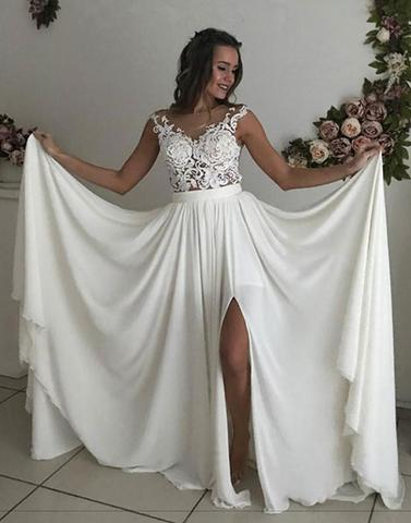 Charming Lace Formal A Line Cheap Long Beach Wedding Dresses, BGP236 - Bubble Gown