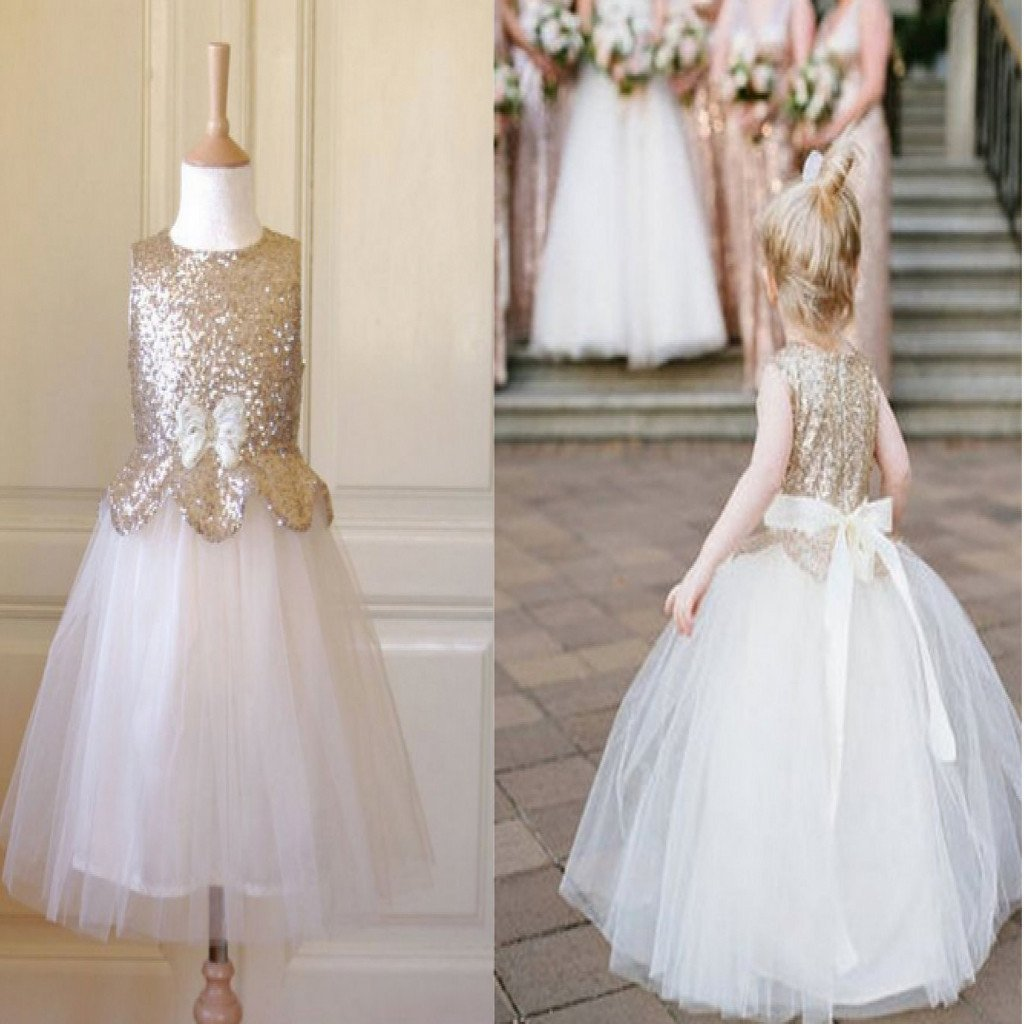 Sleeveless Gold Sequin Top Tulle Pretty Flower Girl Dresses With Bow, FG004