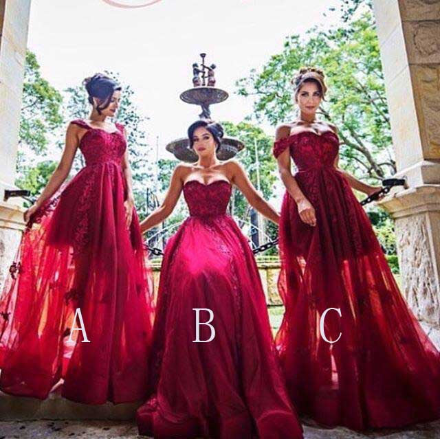 Red Mismatched Lace Applique Inexpensive Long Bridesmaid Dresses, BG51472