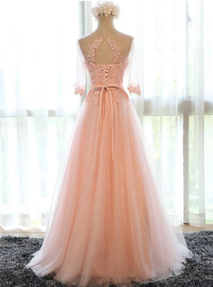 Applique Peach Half Sleeves Elegant Tulle Long Prom Dresses, BG51484