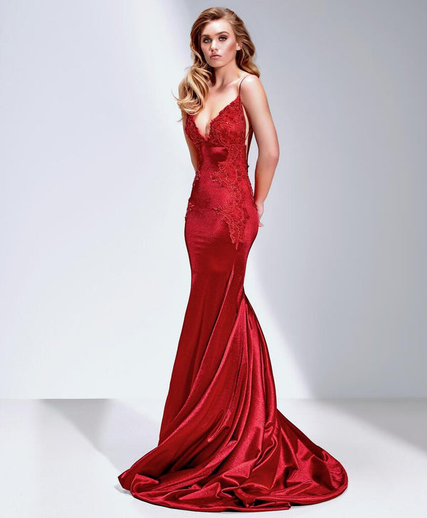 Sexy Mermaid Spaghetti Strap Red Long Prom Dresses, WP007