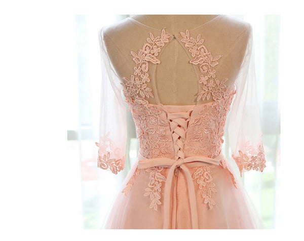 Applique Peach Half Sleeves Elegant Tulle Long Prom Dresses, BG51484 - Bubble Gown