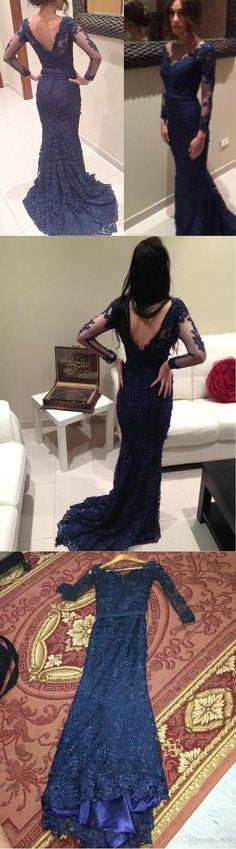 Elegant Navy V-neck Mermaid Long Sleeves Lace Prom Dresses, BG51152 - Bubble Gown