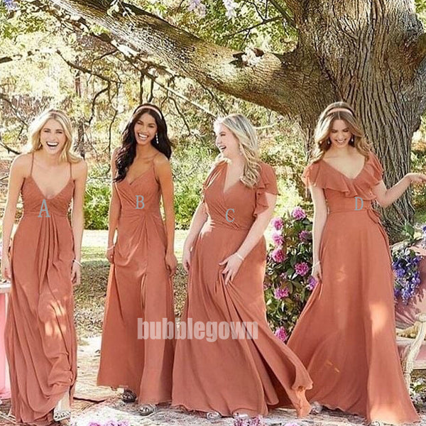 Popular Mismatched Styles Wedding Party Long Bridesmaid Dresses BMD001
