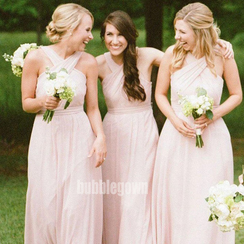 Pink Chiffon Wedding Party Long Bridesmaid Dresses BMD002