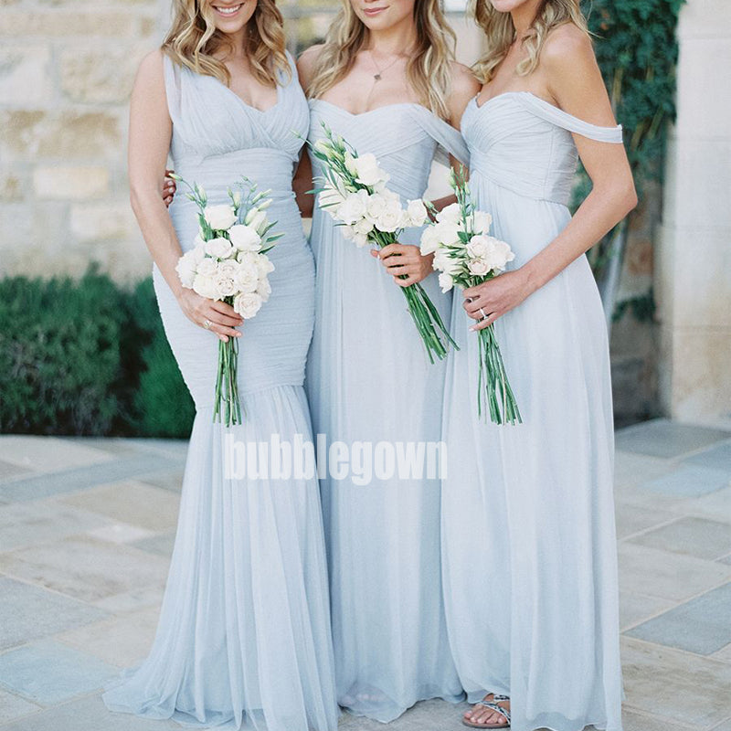 Sexy Off-the-shoulder Light Blue Long Bridesmaid Dresses BMD003