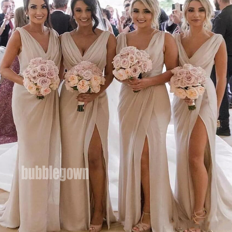 Sexy V-neck Split Side Long Bridesmaid Dresses BMD007
