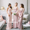 Elegant Pink Mismatched Styles Long Bridesmaid Dresses BMD008
