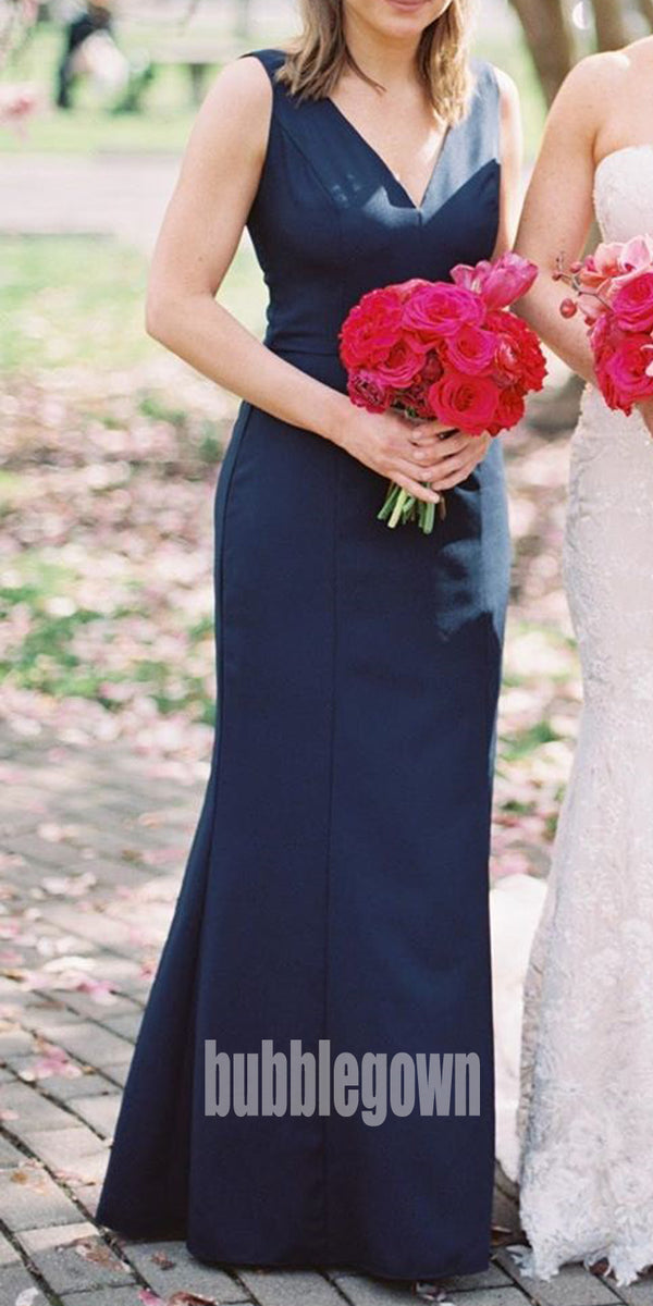 Elegant V-neck  Sleeveless Long Bridesmaid Dresses BMD010
