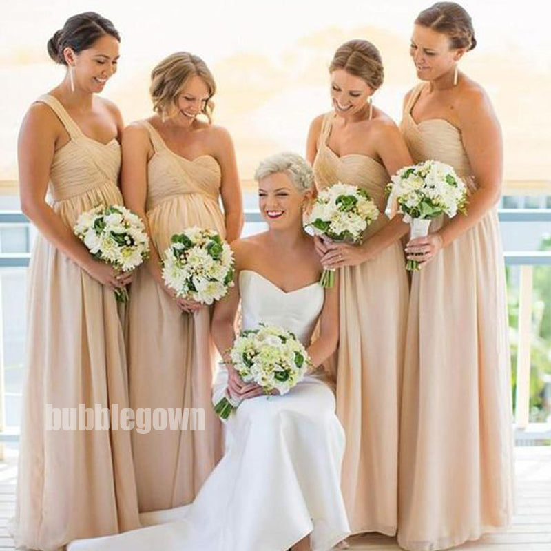 Simple Yellow One-shoulder Long Bridesmaid Dresses BMD012