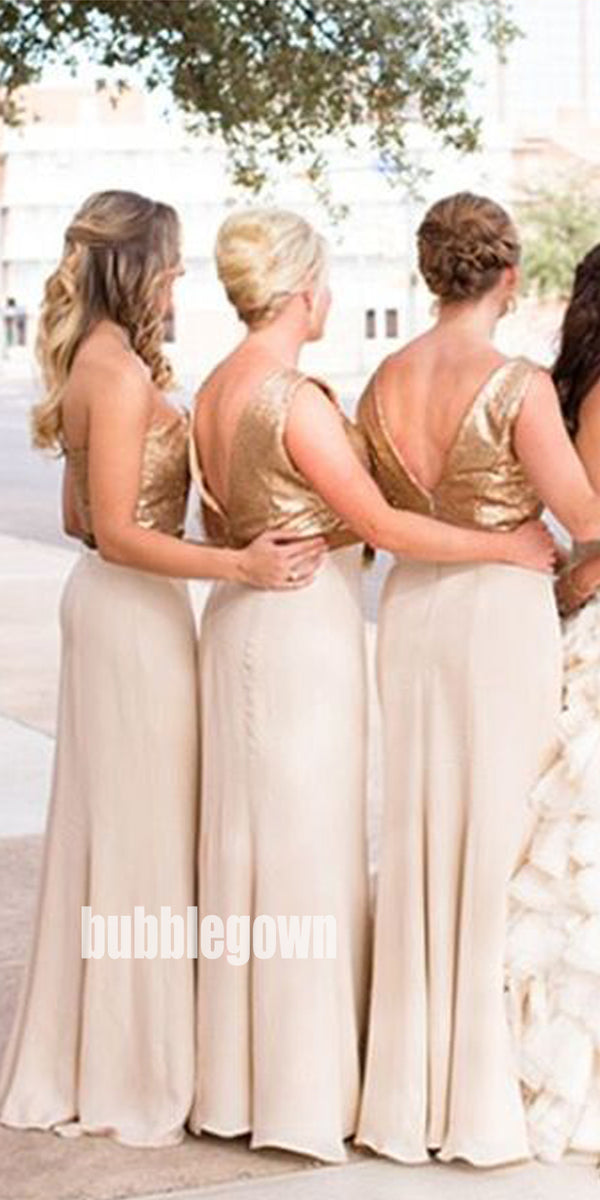 Unique V-neck Two Pieces Chiffon Long Bridesmaid Dresses BMD013