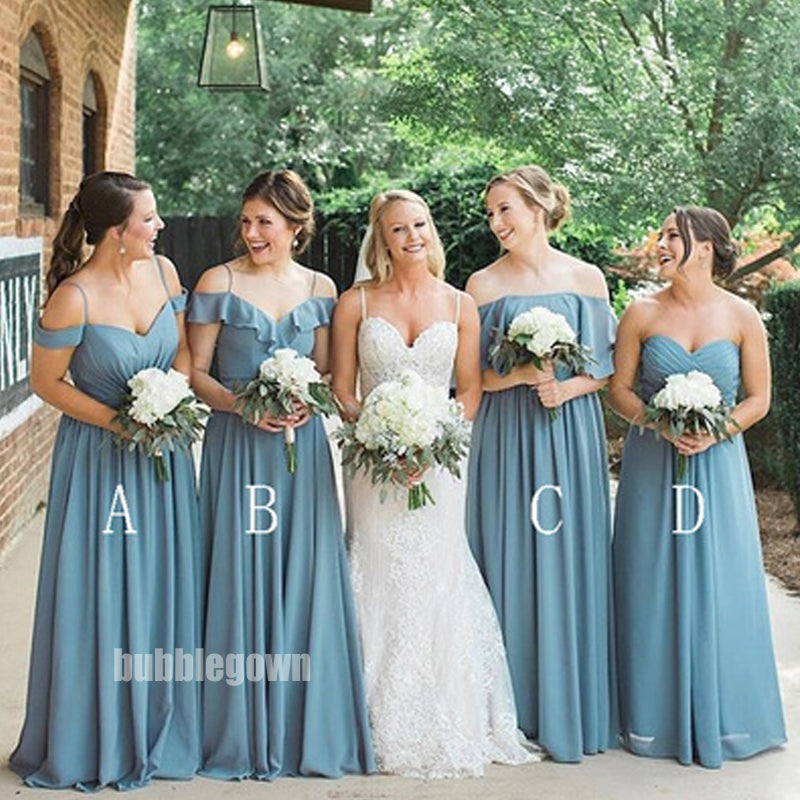 Blue Mismatched Styles A-line Chiffon Long Bridesmaid Dresses BMD014