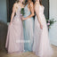 Elegant V-neck Mismatched Styles Tulle Long Bridesmaid Dresses BMD015