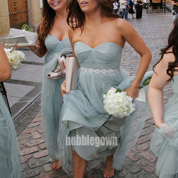 Blue Sweetheart A-line Tulle Long Bridesmaid Dresses BMD017