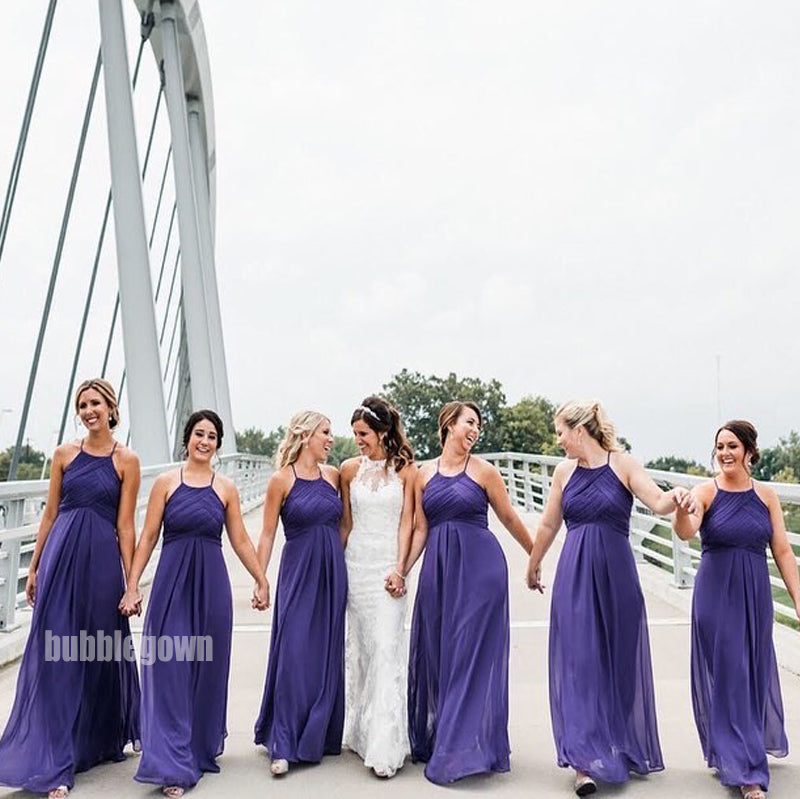 Dark Blue Halter A-line Chiffon Long Bridesmaid Dresses BMD018