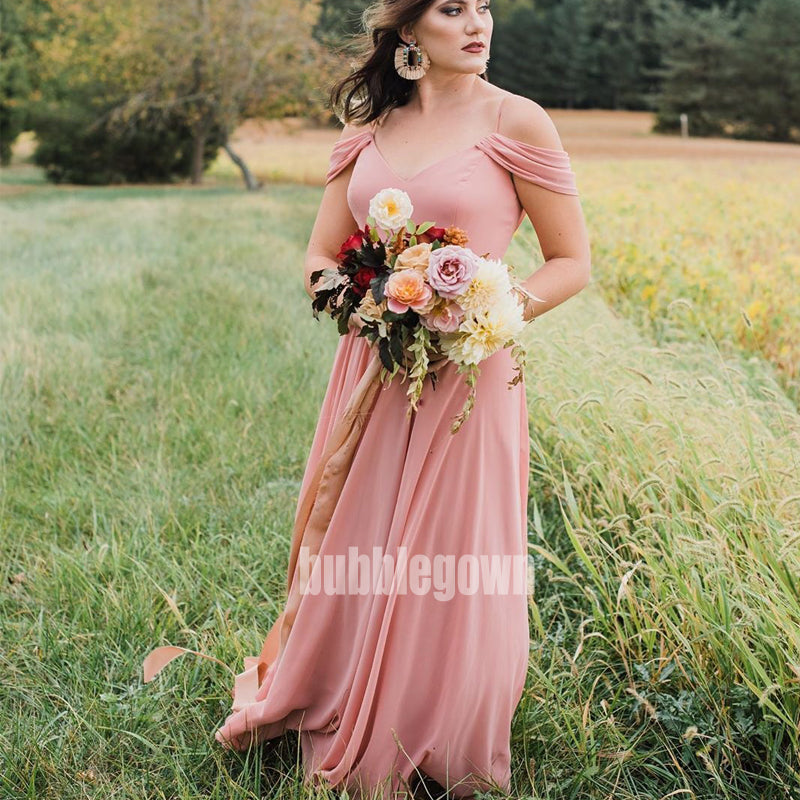 Charming Pink V-neck Spaghetti Strap Chiffon Long Bridesmaid Dresses BMD019
