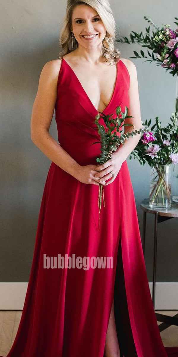 Sexy Red V-neck Mismatched Styles  Long Bridesmaid Dresses BMD016