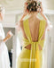 Popular Light Yellow Jewel Sleeveless Long Bridesmaid Dresses BMD021