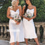 Elegant White Spaghetti Strap Short Bridesmaid Dresses BMD022