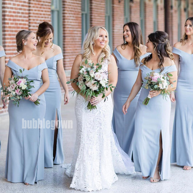 Sky Blue Cap Sleeve Mermaid Side Split Long Bridesmaid Dresses  BMD025