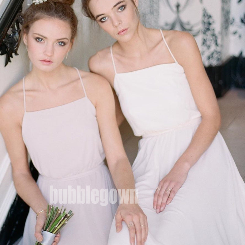 Affordable White Spaghetti Strap A-line Long Bridesmaid Dresses  BMD026
